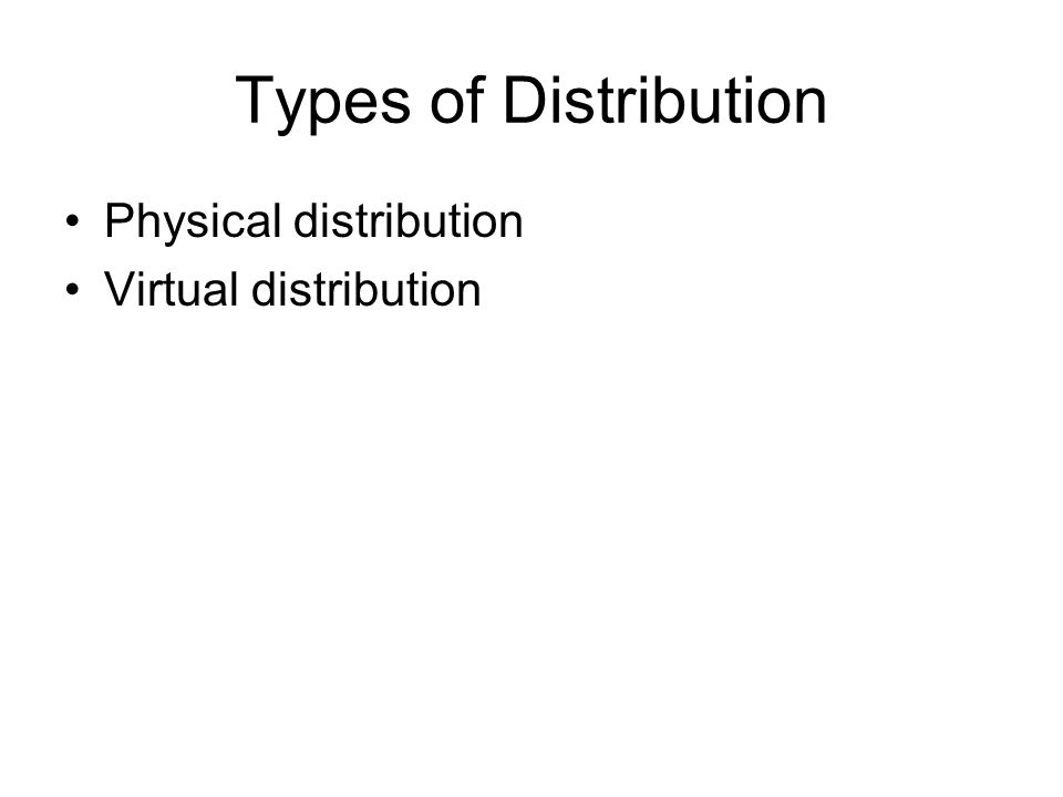 Types of Distribution Physical distribution Virtual distribution