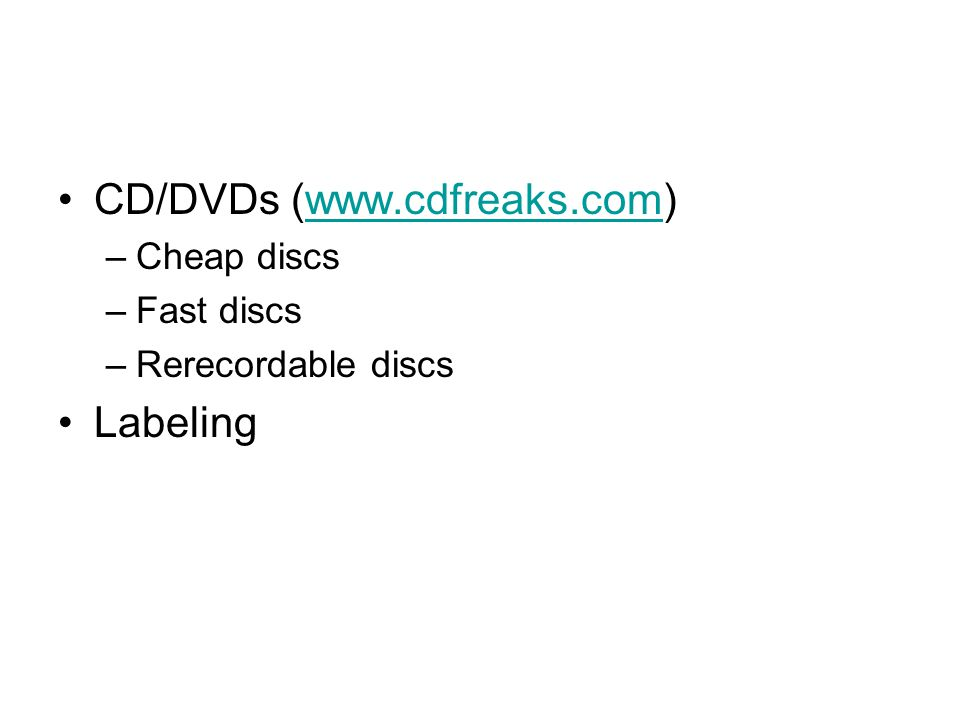 Packaging Simple packaging –CD sleeve –Simple label –Basic information Program name Version number Author contact (Web address, e-mail address) Basic copyright information Type of disc (CD or DVD) Basic setup or installation instructions