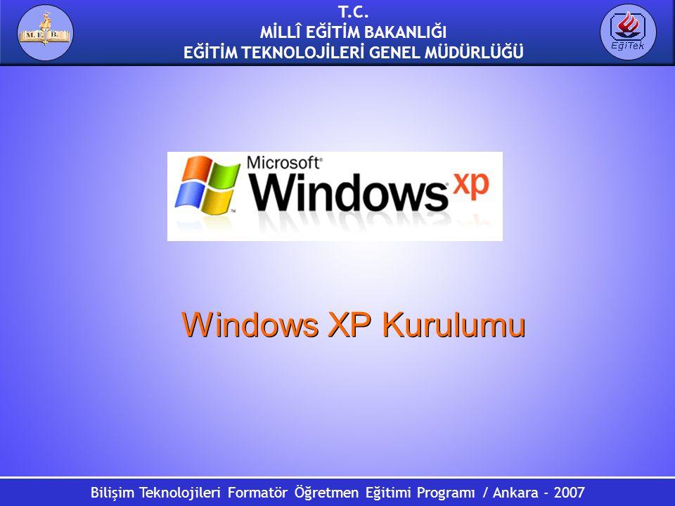 T.C. MİLLÎ EĞİTİM BAKANLIĞI EĞİTİM TEKNOLOJİLERİ GENEL MÜDÜRLÜĞÜ Bilişim Teknolojileri Formatör Öğretmen Eğitimi Programı / Ankara - 2007 Windows XP K