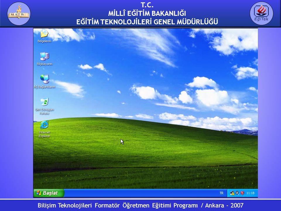 T.C. MİLLÎ EĞİTİM BAKANLIĞI EĞİTİM TEKNOLOJİLERİ GENEL MÜDÜRLÜĞÜ Bilişim Teknolojileri Formatör Öğretmen Eğitimi Programı / Ankara - 2007