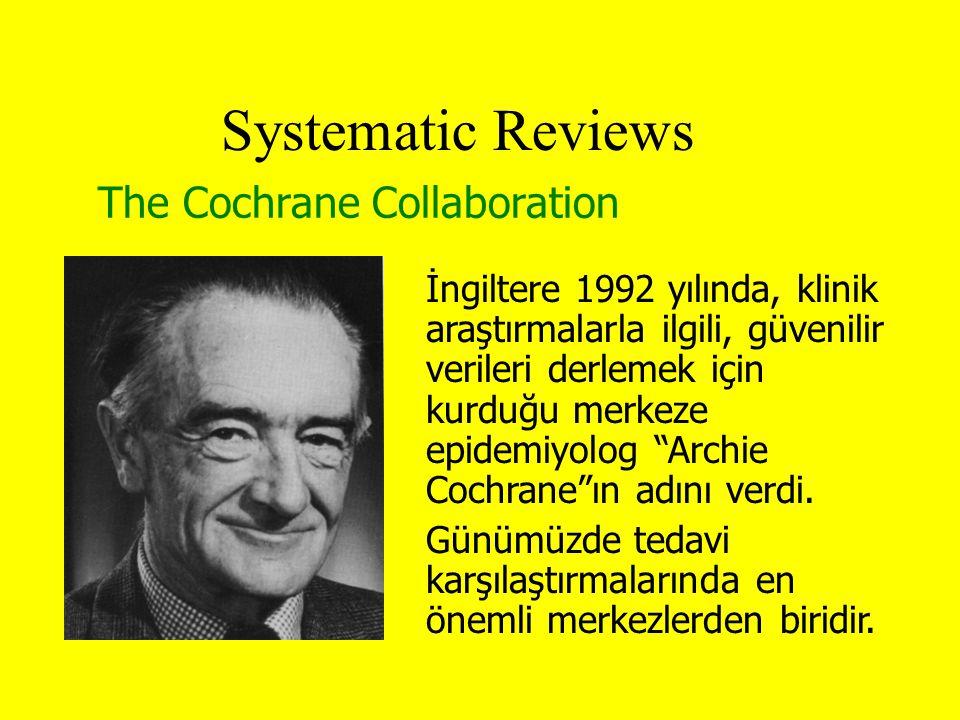The Cochrane Collaboration Systematic Reviews İngiltere 1992 yılında, klinik araştırmalarla ilgili, güvenilir verileri derlemek için kurduğu merkeze epidemiyolog Archie Cochrane ın adını verdi.