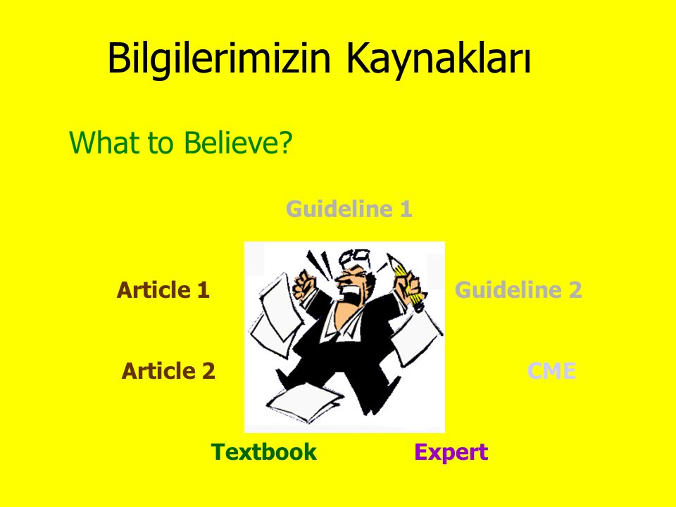 What to Believe? Guideline 1 Article 1Guideline 2 Article 2CME TextbookExpert Bilgilerimizin Kaynakları