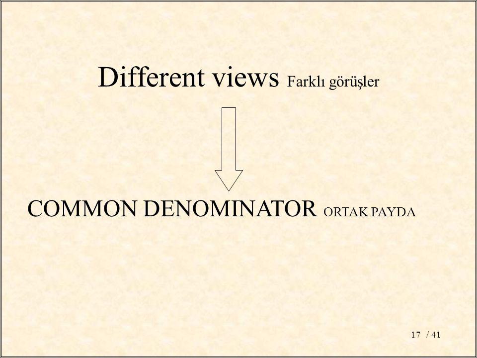 / 4117 Different views Farklı görüşler COMMON DENOMINATOR ORTAK PAYDA