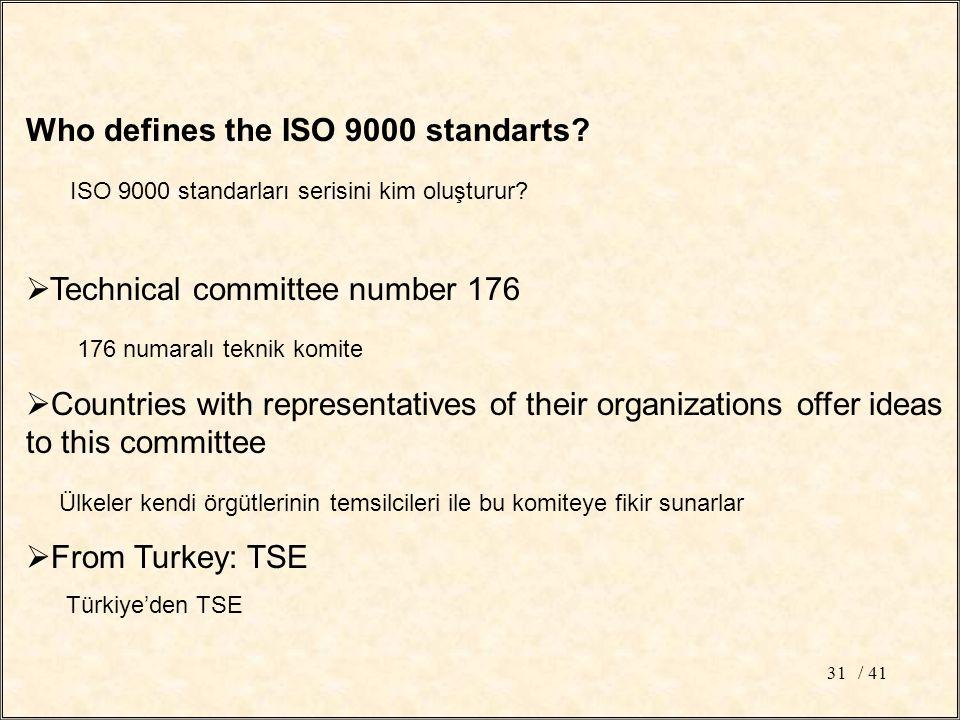 / 4131 Who defines the ISO 9000 standarts? ISO 9000 standarları serisini kim oluşturur?  Technical committee number 176 176 numaralı teknik komite 