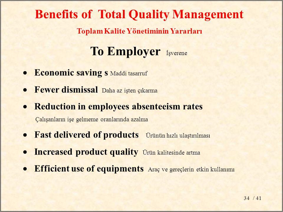 / 4134 Benefits of Total Quality Management Toplam Kalite Yönetiminin Yararları To Employer İşverene  Economic saving s Maddi tasarruf  Fewer dismissal Daha az işten çıkarma  Reduction in employees absenteeism rates Çalışanların işe gelmeme oranlarında azalma  Fast delivered of products Ürünün hızlı ulaştırılması  Increased product quality Ürün kalitesinde artma  Efficient use of equipments Araç ve gereçlerin etkin kullanımı