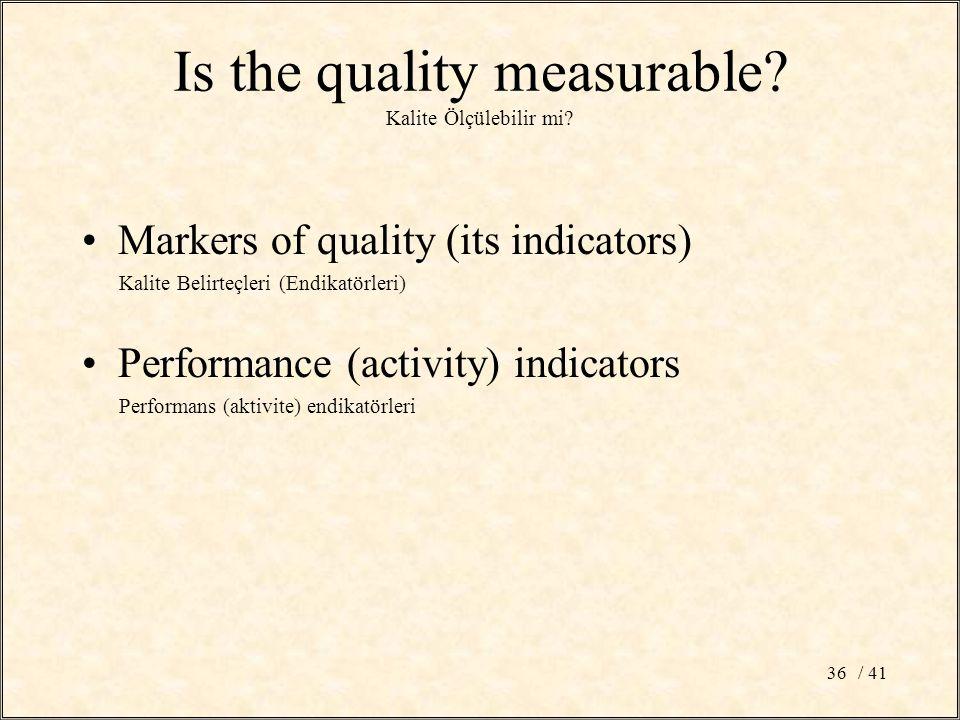 / 4136 Is the quality measurable? Kalite Ölçülebilir mi? Markers of quality (its indicators) Kalite Belirteçleri (Endikatörleri) Performance (activity
