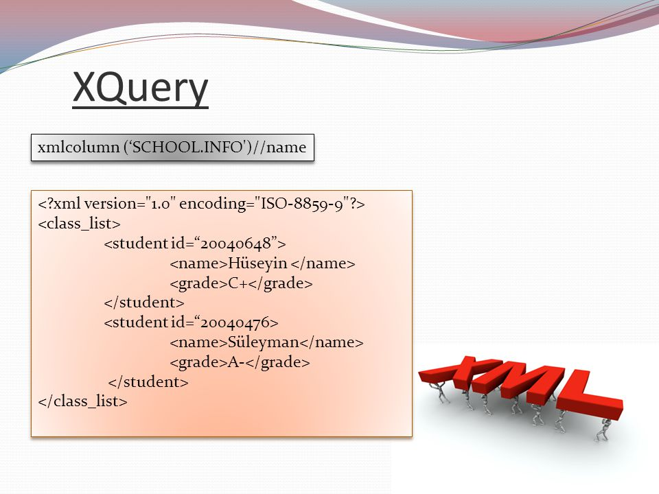 XQuery xmlcolumn ('SCHOOL.INFO )//name Hüseyin C+ Süleyman A- Hüseyin C+ Süleyman A- Hüseyin Süleyman Hüseyin Süleyman