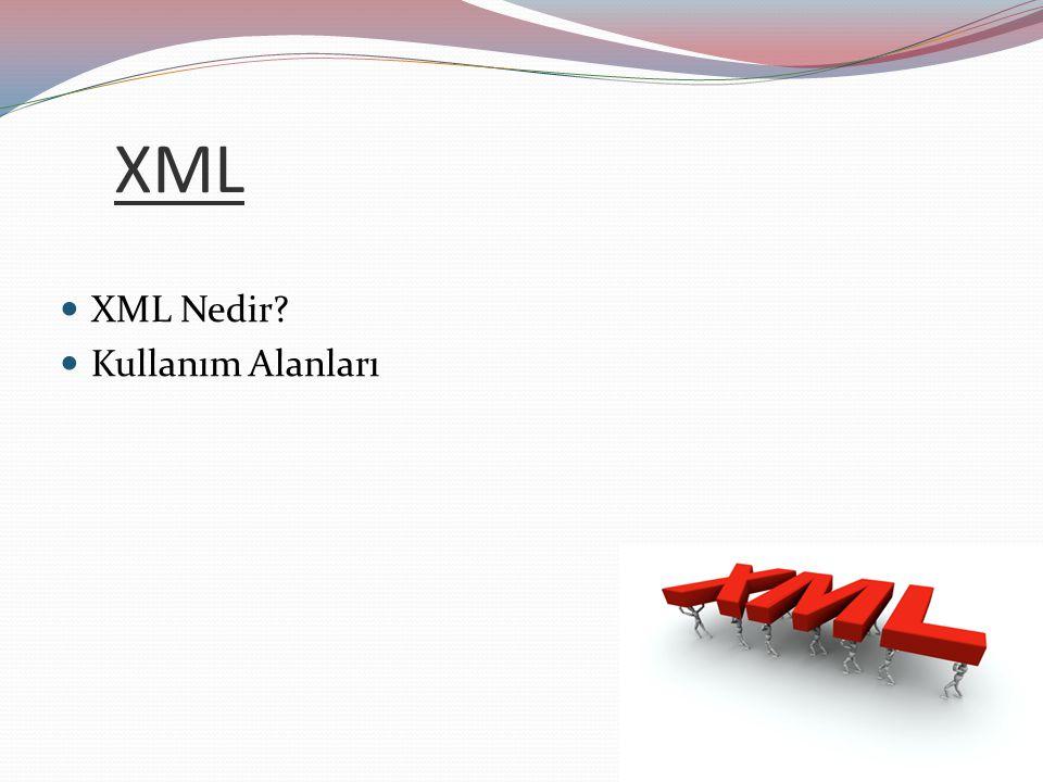 XML Nedir? Kullanım Alanları XML Configuration dosyaları yaygın olarak J2EE