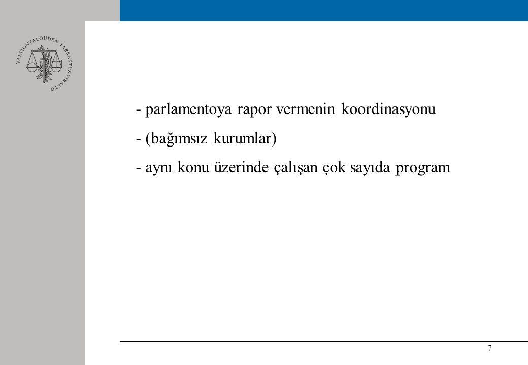 7 - parlamentoya rapor vermenin koordinasyonu - (bağımsız kurumlar) - aynı konu üzerinde çalışan çok sayıda program