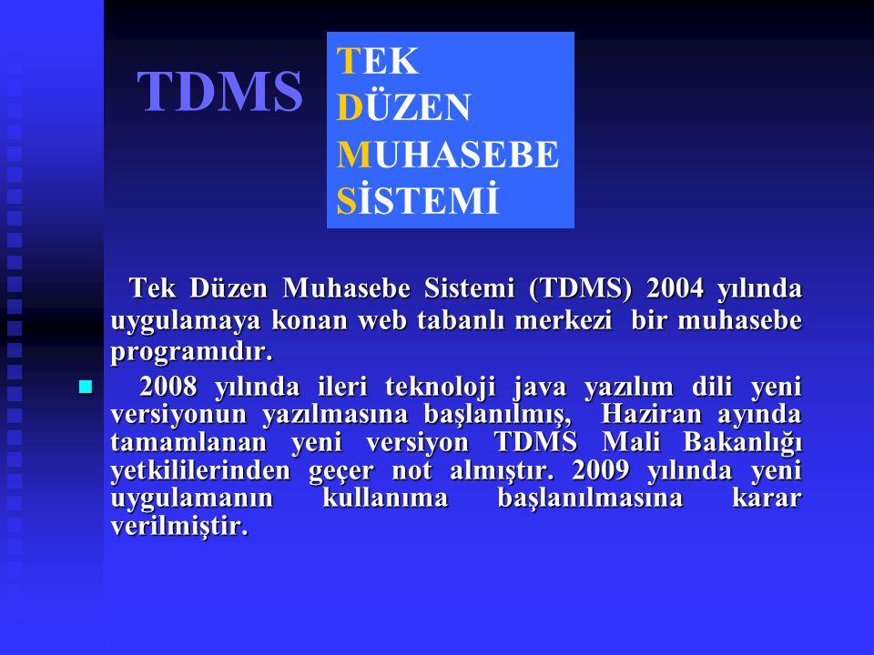 TDMS Tek Düzen Muhasebe Sistemi (TDMS) 2004 yılında uygulamaya konan web tabanlı merkezi bir muhasebe programıdır. Tek Düzen Muhasebe Sistemi (TDMS) 2