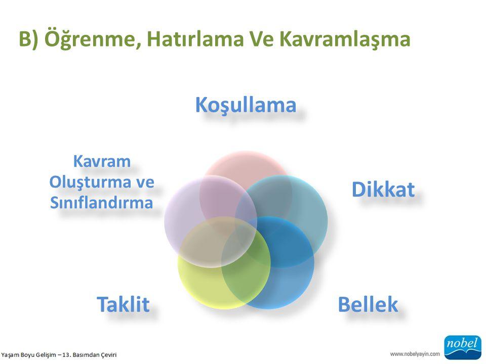 B) Öğrenme, Hatırlama Ve Kavramlaşma Koşullama Dikkat BellekTaklit Kavram Oluşturma ve Sınıflandırma