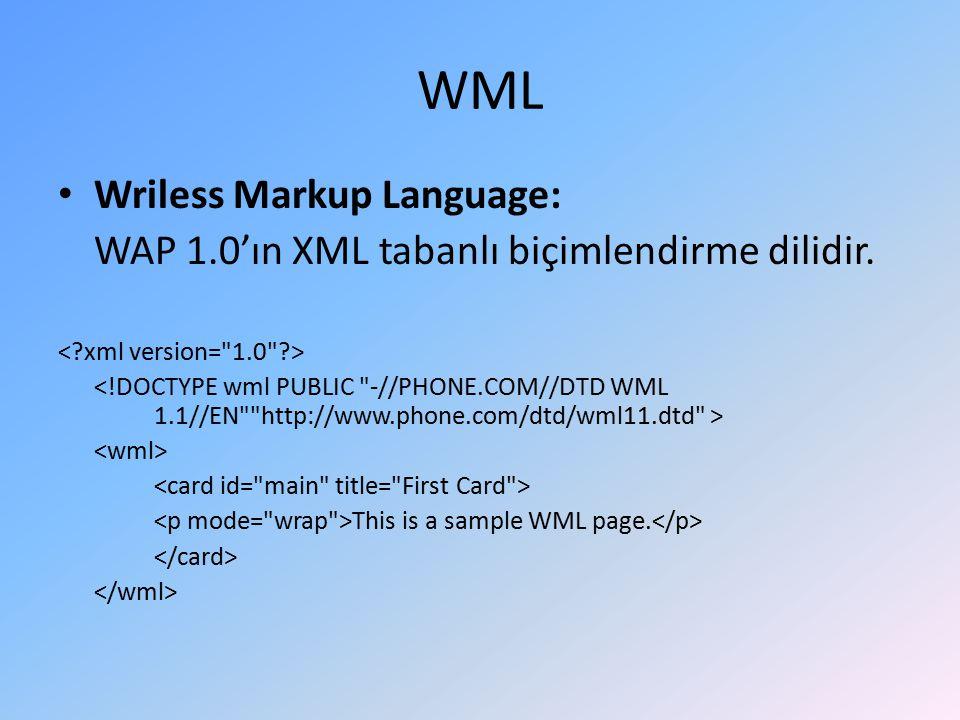WML Wriless Markup Language: WAP 1.0'ın XML tabanlı biçimlendirme dilidir.