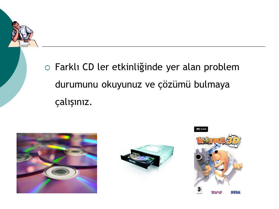  Farklı CD ler etkinliğinde yer alan problem durumunu okuyunuz ve çözümü bulmaya çalışınız.