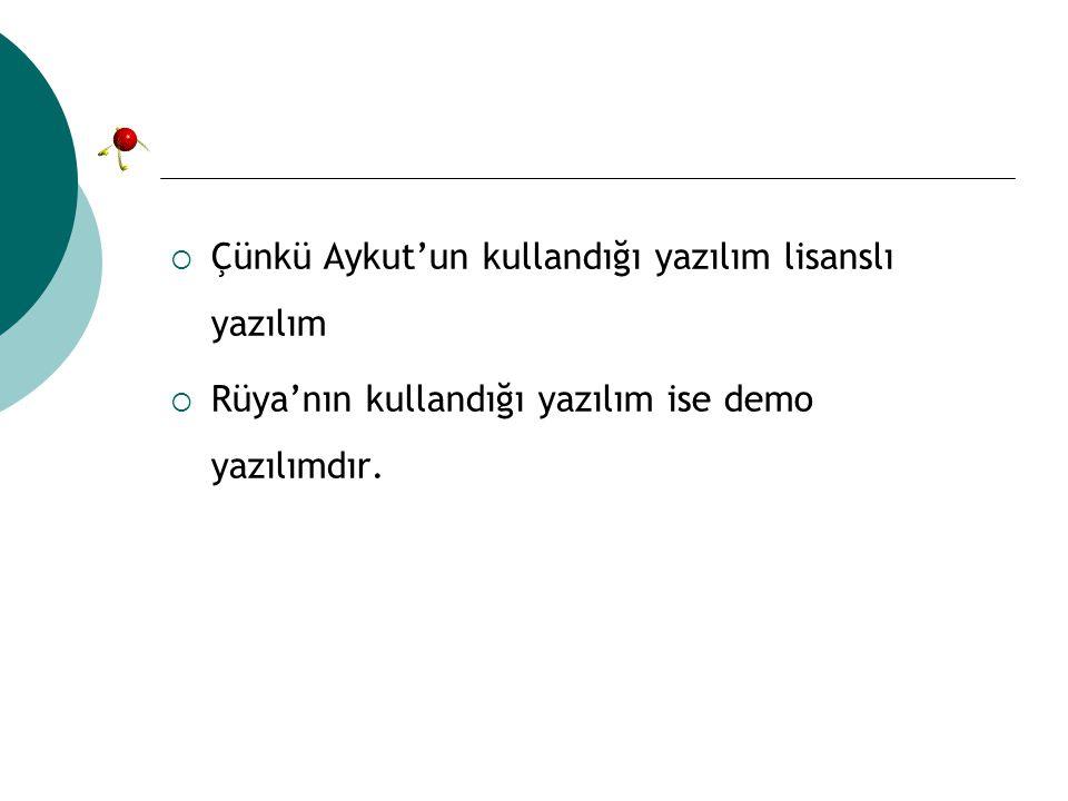  Çünkü Aykut'un kullandığı yazılım lisanslı yazılım  Rüya'nın kullandığı yazılım ise demo yazılımdır.