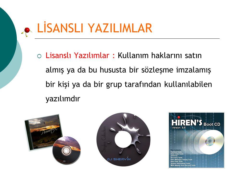 LİSANSLI YAZILIMLAR  Ne yazık ki Türkiye de de, Dünya da da korsan yazılımların önüne geçilememektedir.