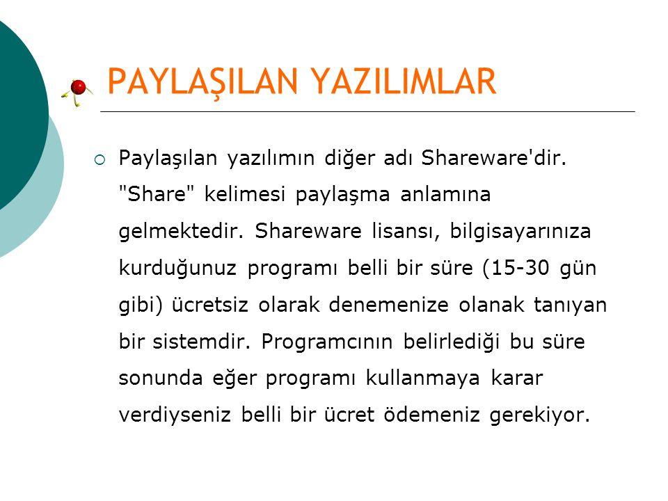 PAYLAŞILAN YAZILIMLAR  Paylaşılan yazılımın diğer adı Shareware'dir.