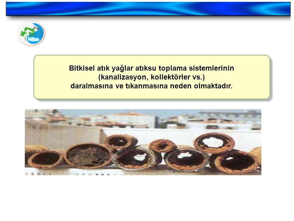 Bitkisel atık yağlar atıksu toplama sistemlerinin (kanalizasyon, kollektörler vs.) daralmasına ve tıkanmasına neden olmaktadır.