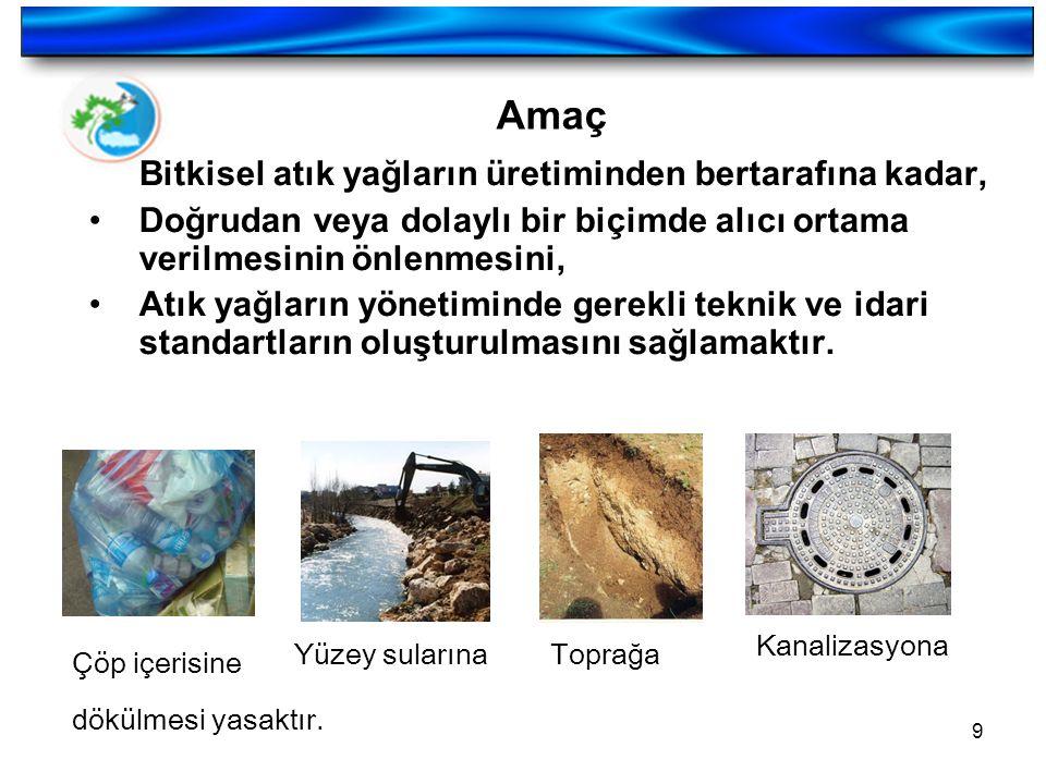 9 Amaç Bitkisel atık yağların üretiminden bertarafına kadar, Doğrudan veya dolaylı bir biçimde alıcı ortama verilmesinin önlenmesini, Atık yağların yö