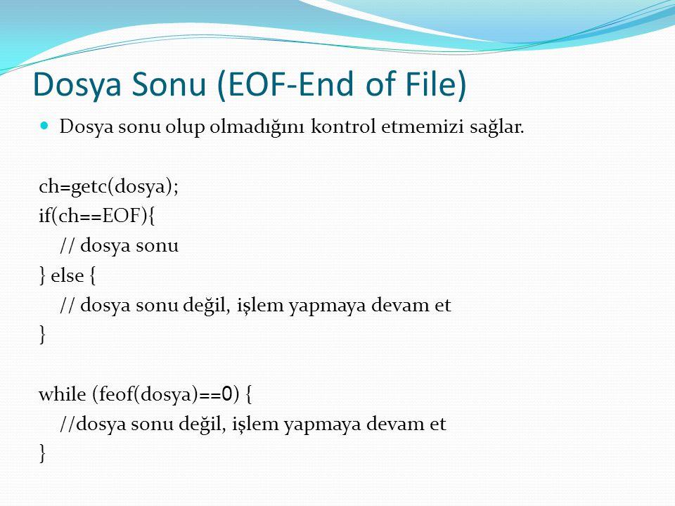 Dosya Sonu (EOF-End of File) Dosya sonu olup olmadığını kontrol etmemizi sağlar. ch=getc(dosya); if(ch==EOF){ // dosya sonu } else { // dosya sonu değ