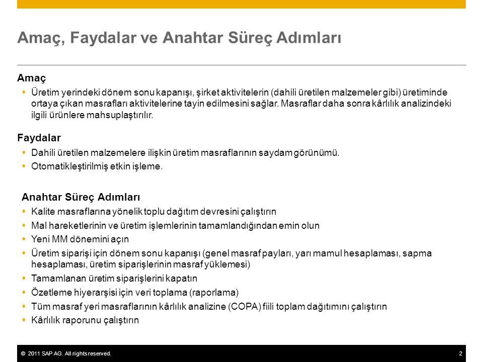 ©2011 SAP AG. All rights reserved.2 Amaç, Faydalar ve Anahtar Süreç Adımları Amaç  Üretim yerindeki dönem sonu kapanışı, şirket aktivitelerin (dahili