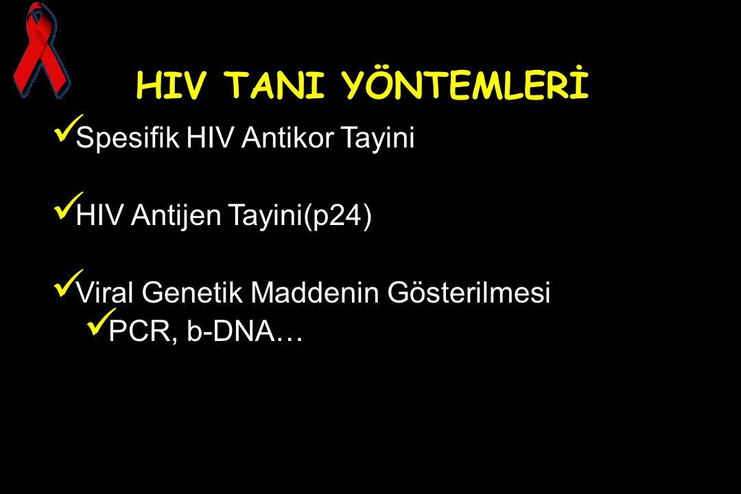 HIV TANI YÖNTEMLERİ Spesifik HIV Antikor Tayini HIV Antijen Tayini(p24) Viral Genetik Maddenin Gösterilmesi PCR, b-DNA…