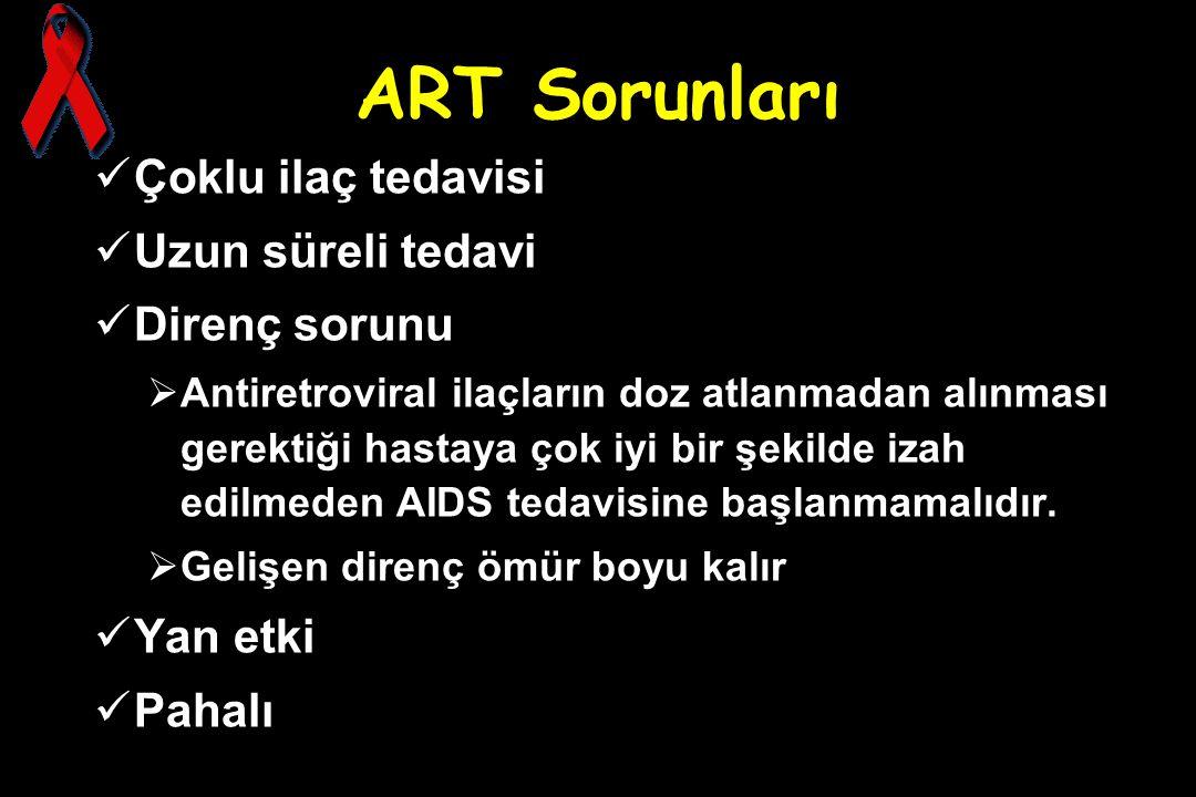 ART Sorunları Çoklu ilaç tedavisi Uzun süreli tedavi Direnç sorunu  Antiretroviral ilaçların doz atlanmadan alınması gerektiği hastaya çok iyi bir şe