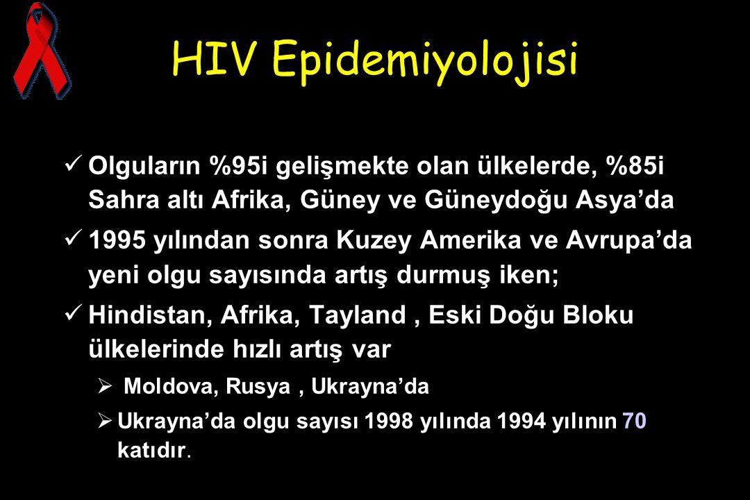 HIV Epidemiyolojisi Olguların %95i gelişmekte olan ülkelerde, %85i Sahra altı Afrika, Güney ve Güneydoğu Asya'da 1995 yılından sonra Kuzey Amerika ve