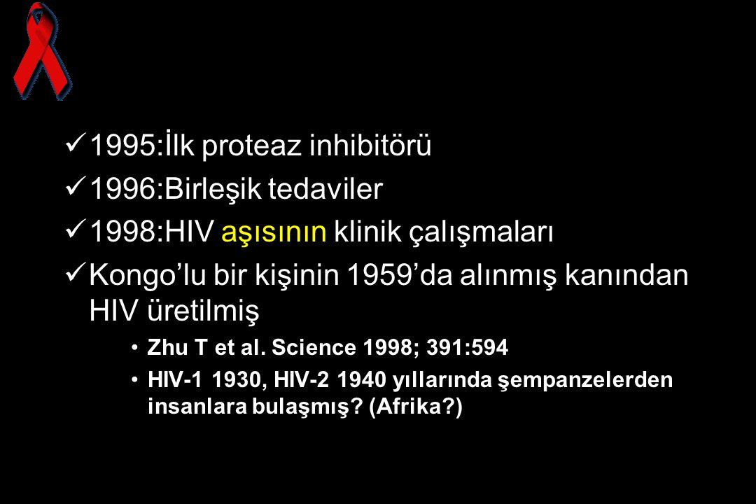 1995:İlk proteaz inhibitörü 1996:Birleşik tedaviler 1998:HIV aşısının klinik çalışmaları Kongo'lu bir kişinin 1959'da alınmış kanından HIV üretilmiş Z