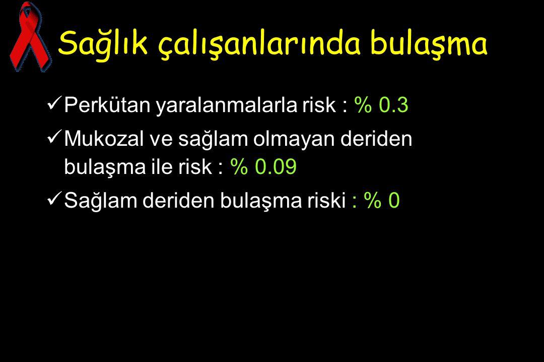Sağlık çalışanlarında bulaşma Perkütan yaralanmalarla risk : % 0.3 Mukozal ve sağlam olmayan deriden bulaşma ile risk : % 0.09 Sağlam deriden bulaşma