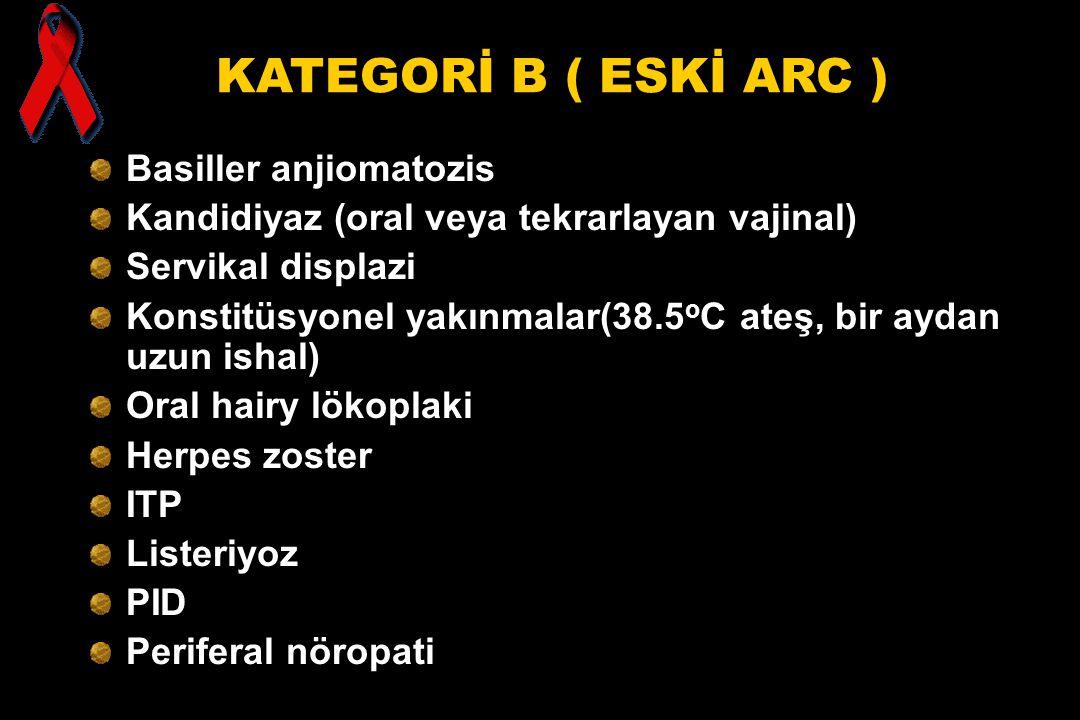 KATEGORİ B ( ESKİ ARC ) Basiller anjiomatozis Kandidiyaz (oral veya tekrarlayan vajinal) Servikal displazi Konstitüsyonel yakınmalar(38.5 o C ateş, bi