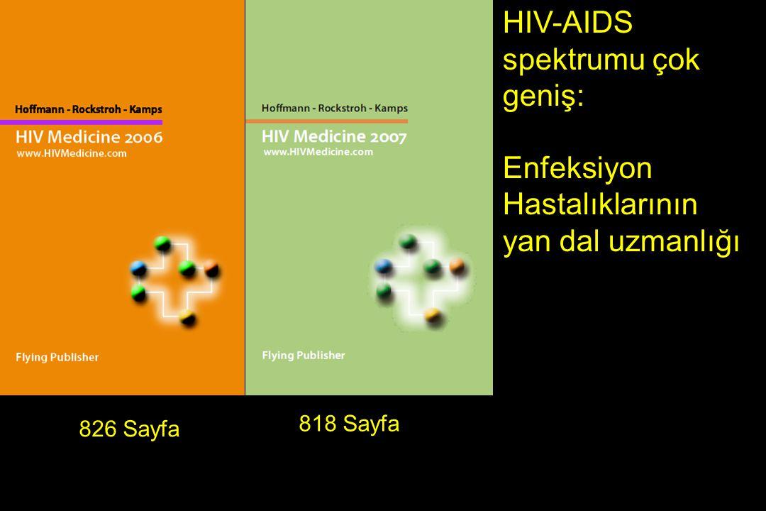 826 Sayfa HIV-AIDS spektrumu çok geniş: Enfeksiyon Hastalıklarının yan dal uzmanlığı 818 Sayfa