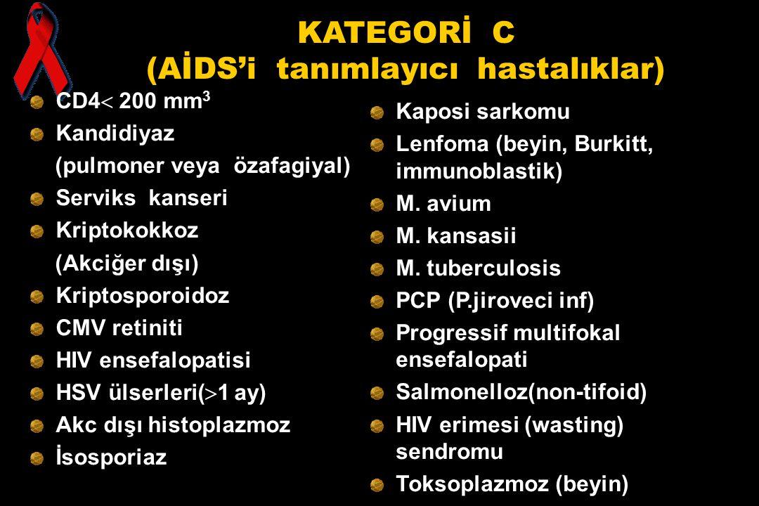 KATEGORİ C (AİDS'i tanımlayıcı hastalıklar) CD4  200 mm 3 Kandidiyaz (pulmoner veya özafagiyal) Serviks kanseri Kriptokokkoz (Akciğer dışı) Kriptospo
