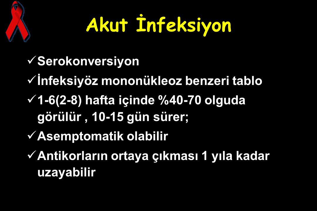 Akut İnfeksiyon Serokonversiyon İnfeksiyöz mononükleoz benzeri tablo 1-6(2-8) hafta içinde %40-70 olguda görülür, 10-15 gün sürer; Asemptomatik olabil