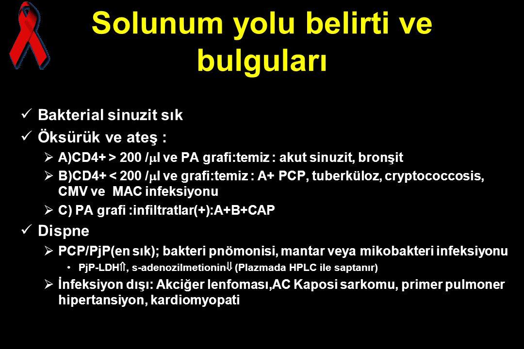 Solunum yolu belirti ve bulguları Bakterial sinuzit sık Öksürük ve ateş :  A)CD4+ > 200 /  l ve PA grafi:temiz : akut sinuzit, bronşit  B)CD4+ < 20