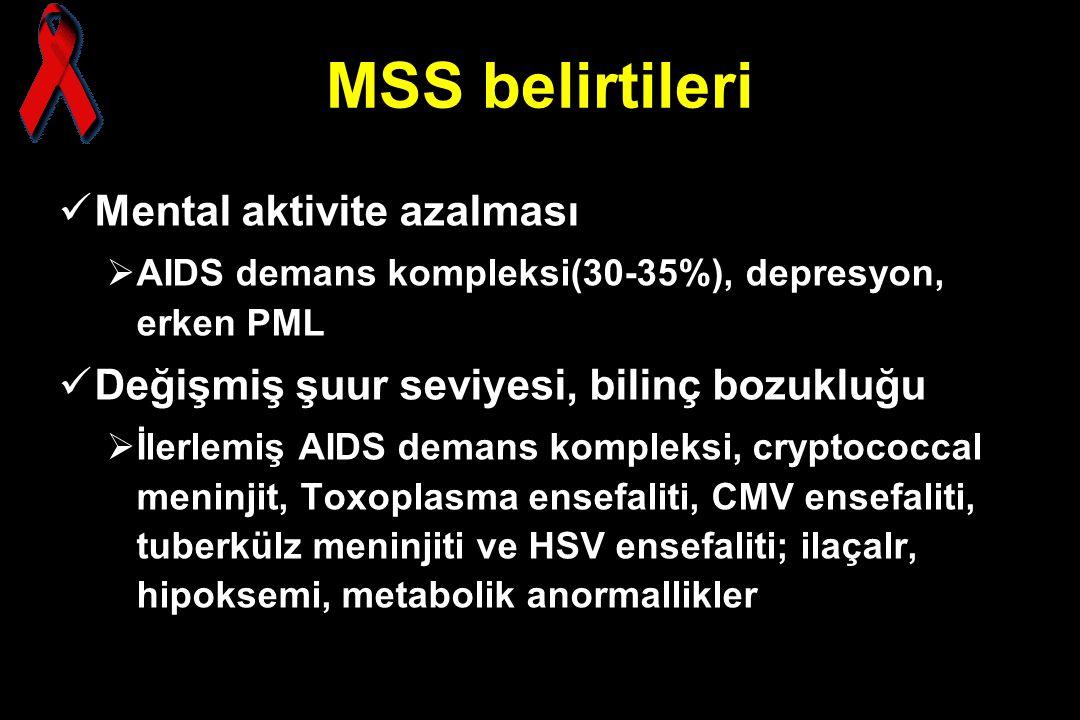 MSS belirtileri Mental aktivite azalması  AIDS demans kompleksi(30-35%), depresyon, erken PML Değişmiş şuur seviyesi, bilinç bozukluğu  İlerlemiş AI