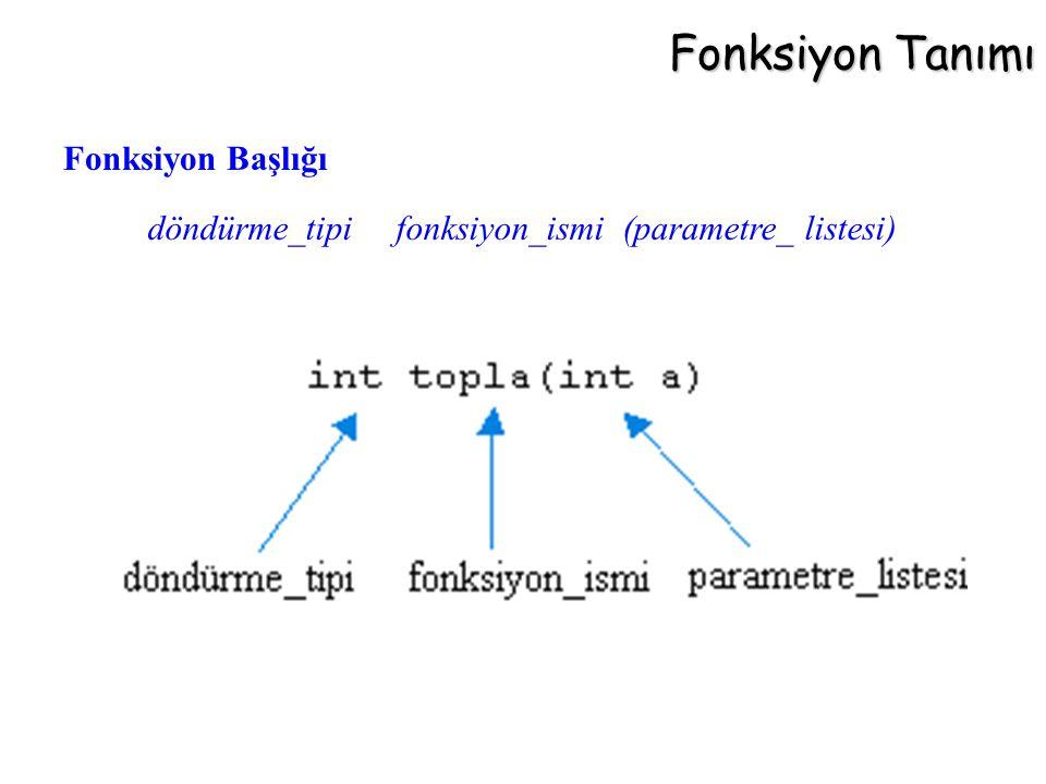 Fonksiyon Tanımı döndürme_tipi fonksiyon_ismi (parametre_ listesi) Fonksiyon Başlığı