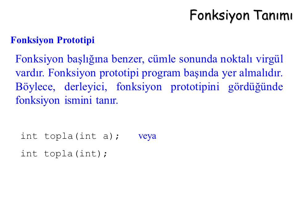 Fonksiyon Tanımı Fonksiyon başlığına benzer, cümle sonunda noktalı virgül vardır. Fonksiyon prototipi program başında yer almalıdır. Böylece, derleyic