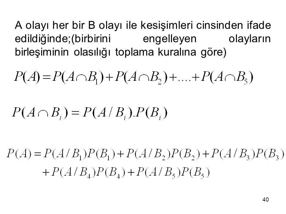 40 A olayı her bir B olayı ile kesişimleri cinsinden ifade edildiğinde;(birbirini engelleyen olayların birleşiminin olasılığı toplama kuralına göre)