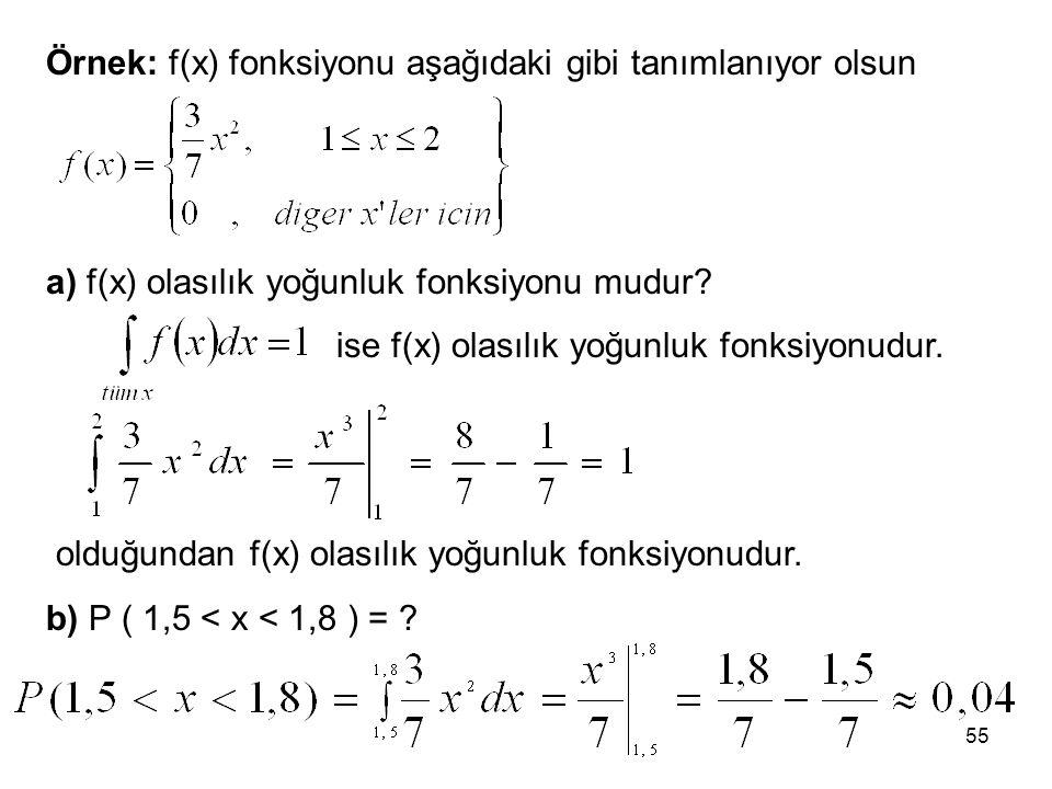 55 Örnek: f(x) fonksiyonu aşağıdaki gibi tanımlanıyor olsun a) f(x) olasılık yoğunluk fonksiyonu mudur? ise f(x) olasılık yoğunluk fonksiyonudur. oldu