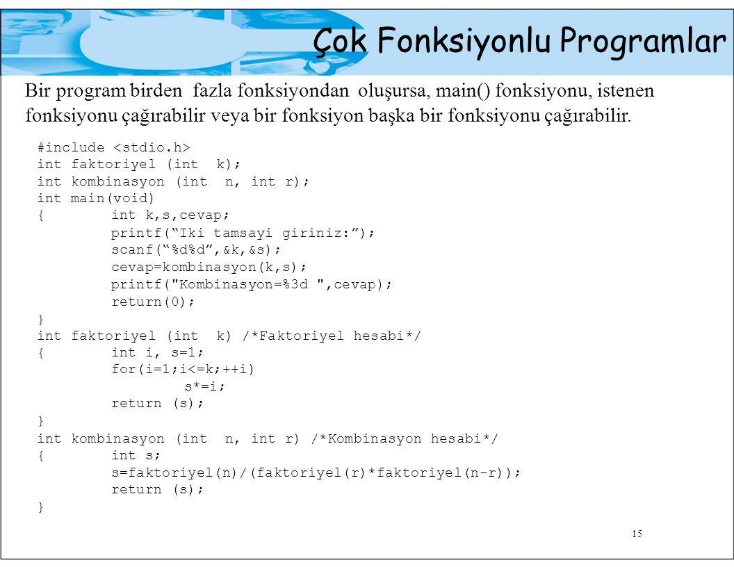 Çok Fonksiyonlu Programlar Bir program birden fazla fonksiyondan oluşursa, main() fonksiyonu, istenen fonksiyonu çağırabilir veya bir fonksiyon başka