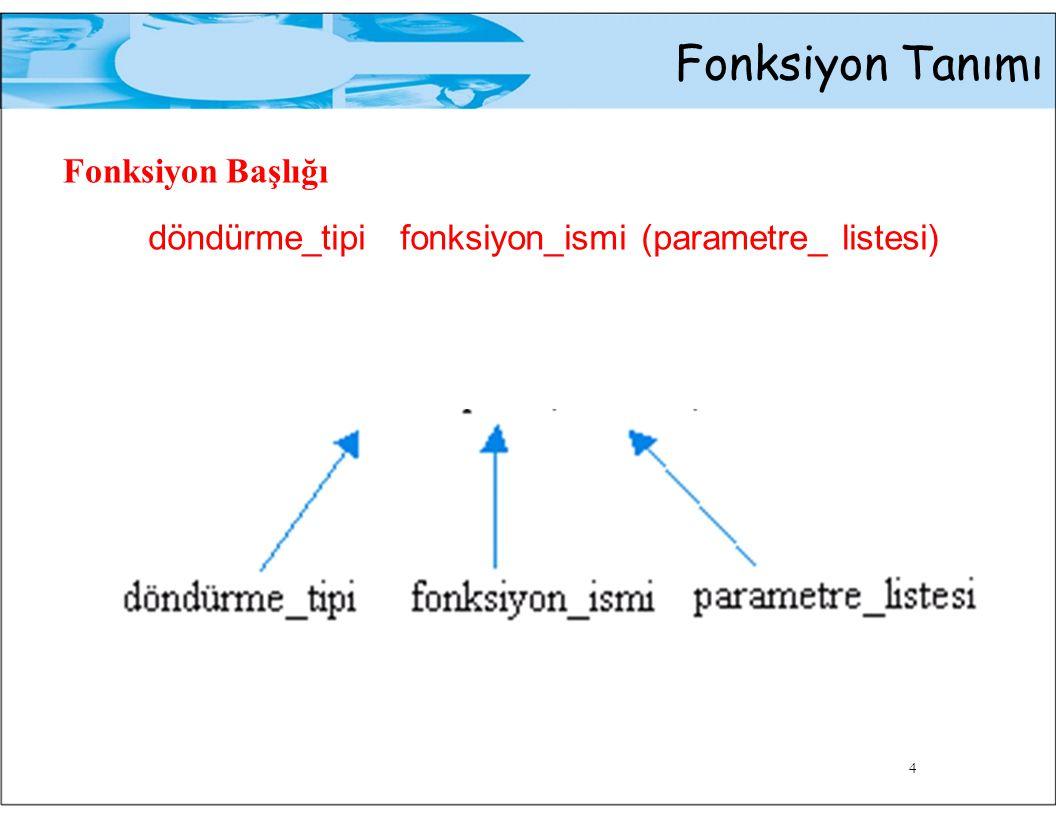 Fonksiyon Tanımı Fonksiyon Prototipi Fonksiyon başlığına benzer, cümle sonunda noktalı virgül vardır.