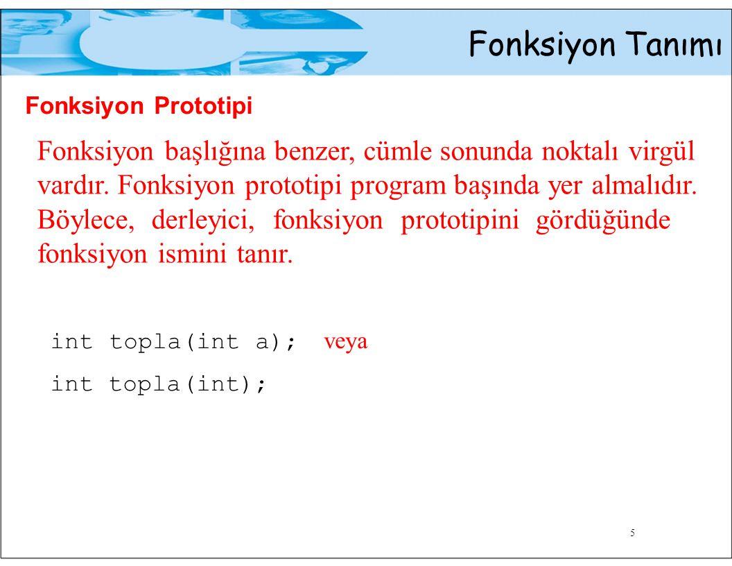 Fonksiyon Tanımı Fonksiyon Prototipi Fonksiyon başlığına benzer, cümle sonunda noktalı virgül vardır. Fonksiyon prototipi program başında yer almalıdı
