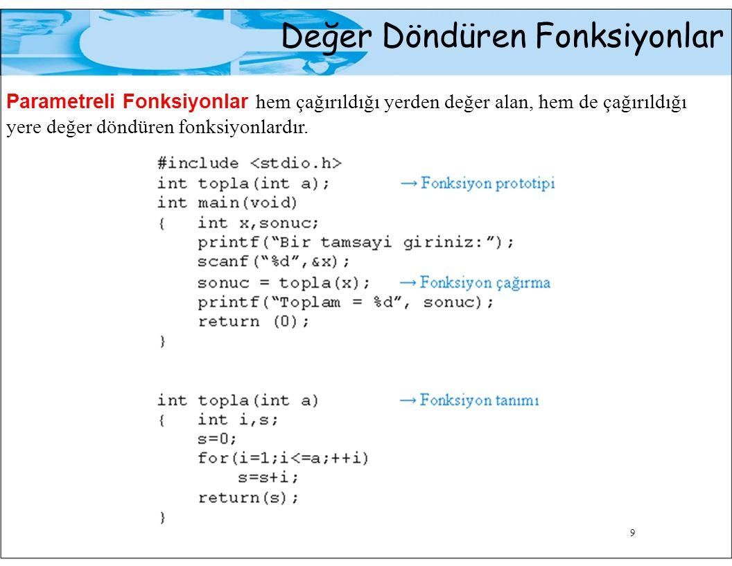 Çok Parametreli Fonksiyonlar Fonksiyon Başlığı döndürme_tipi fonksiyon_ismi (formal_parametre_listesi) Fonksiyonu çağırma cümlesi fonksiyon_ismi (gerçek_ parametre_listesi); 10