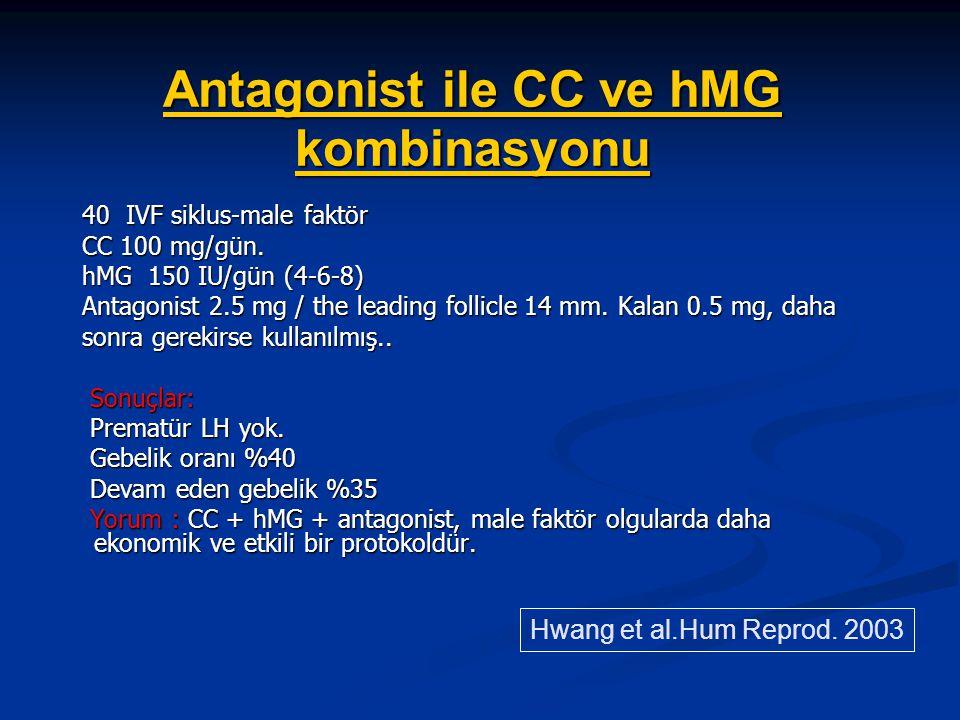 Antagonist ile CC ve hMG kombinasyonu 40 IVF siklus-male faktör 40 IVF siklus-male faktör CC 100 mg/gün. CC 100 mg/gün. hMG 150 IU/gün (4-6-8) hMG 150