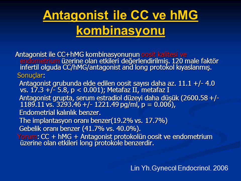 Antagonist ile CC ve hMG kombinasyonu Antagonist ile CC+hMG kombinasyonunun oosit kalitesi ve endometrium üzerine olan etkileri değerlendirilmiş. 120