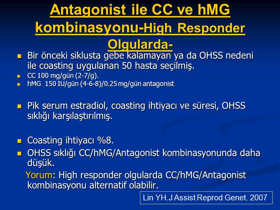 Antagonist ile CC ve hMG kombinasyonu- High Responder Olgularda- Bir önceki siklusta gebe kalamayan ya da OHSS nedeni ile coasting uygulanan 50 hasta