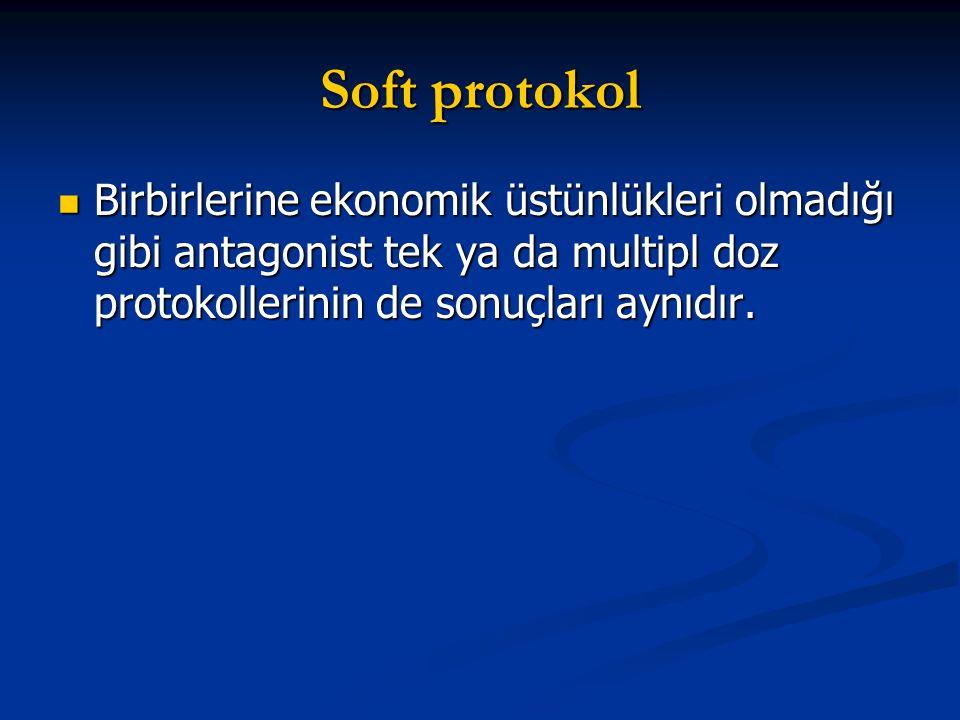 Soft protokol Birbirlerine ekonomik üstünlükleri olmadığı gibi antagonist tek ya da multipl doz protokollerinin de sonuçları aynıdır. Birbirlerine eko
