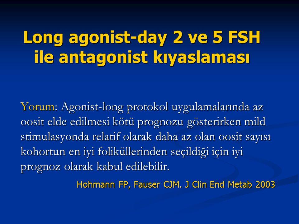 Long agonist-day 2 ve 5 FSH ile antagonist kıyaslaması Yorum: Agonist-long protokol uygulamalarında az oosit elde edilmesi kötü prognozu gösterirken m