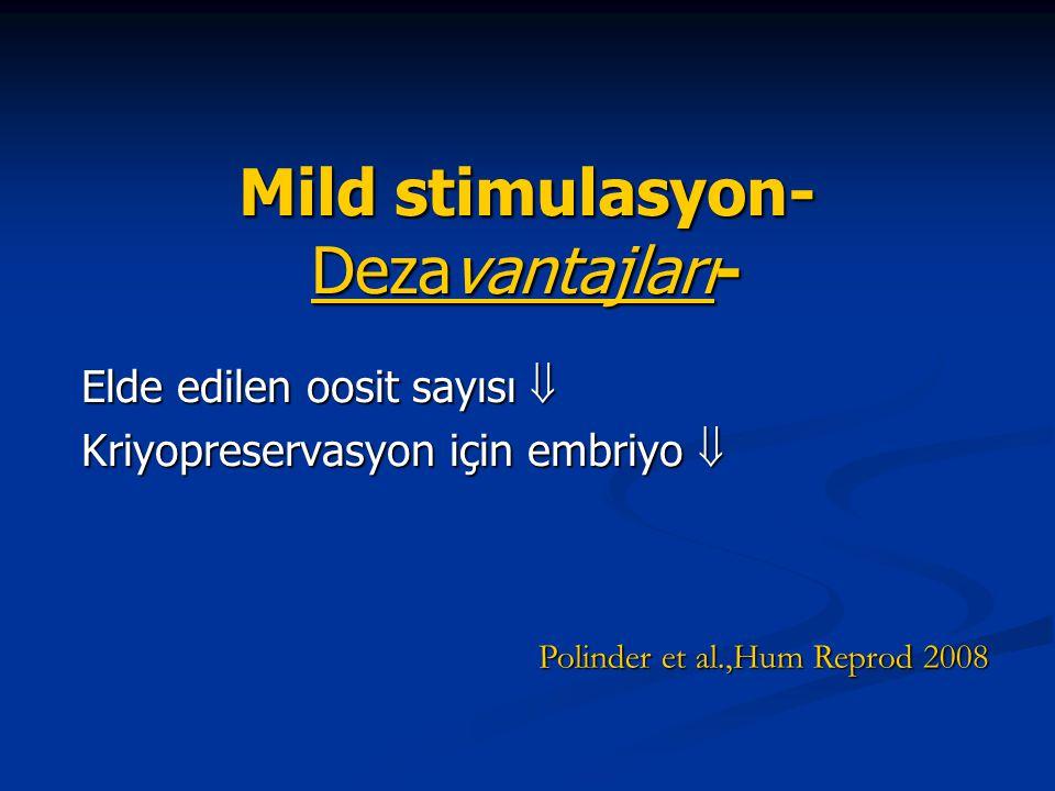 Mild stimulasyon- Dezavantajları- Elde edilen oosit sayısı  Kriyopreservasyon için embriyo  Polinder et al.,Hum Reprod 2008