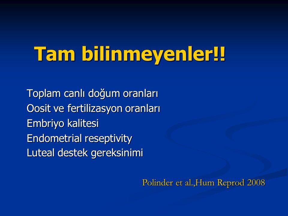 Tam bilinmeyenler!! Toplam canlı doğum oranları Oosit ve fertilizasyon oranları Embriyo kalitesi Endometrial reseptivity Luteal destek gereksinimi Pol